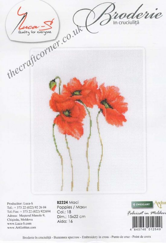 Four Poppies Counted Cross Stitch Kit From Luca-S (B2224)